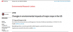 Cover photo for Changes in Environmental Impacts of Major Crops in the US